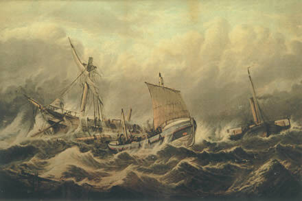 Painting of the rescue by William Broome, image copyright the Ramsgate Maritime Museum and used by kind permission