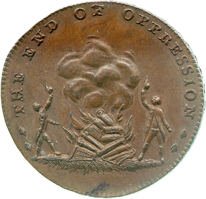 Reverse of a copper halfpenny token of Thomas Spence, 1790s